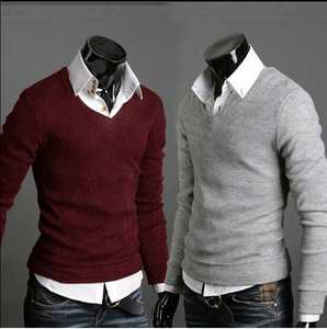 Rabbit-Wool Sweater V-Neck Knits Thickened Men's Pure-Color Autumn/winter