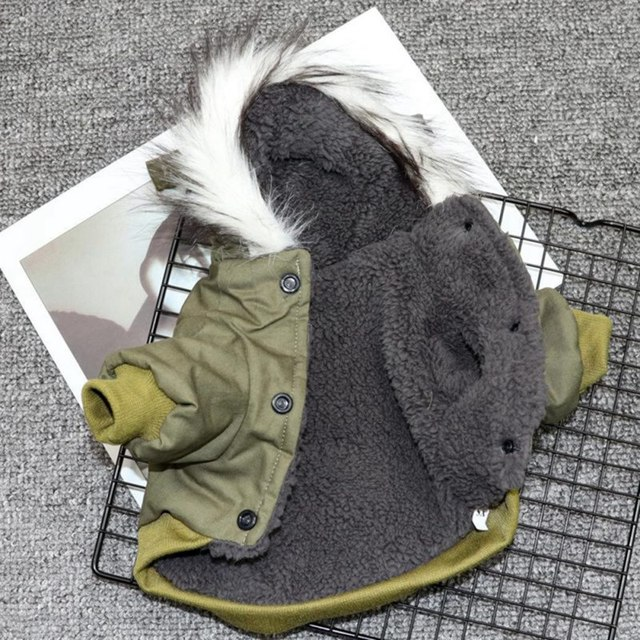 Pet Cats and Dogs Winter Warm Down Jacket Jacket Medium and Small Dog Chihuahua Hooded Clothes Lightweight Hoodie 5