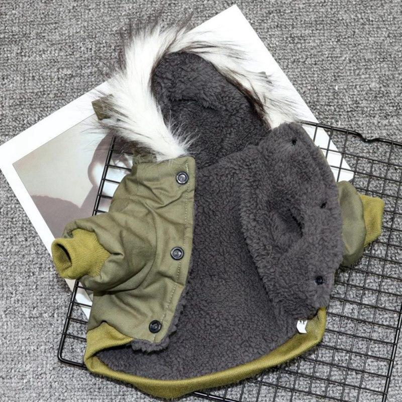 Зимний теплый пуховик для домашних животных, кошек и собак, куртка средней и маленькой собаки, одежда с капюшоном для чихуахуа, легкая Толстовка-4