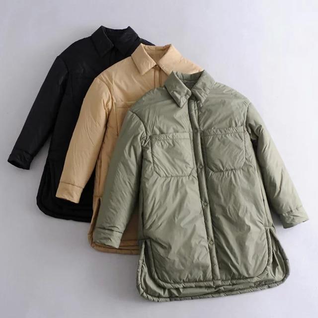 Za Women's Jackets Oversize Parkas Thin Coats Khaki Shirt Coat Long Femme BF Long Sleeves Big Pockets Outerwear Mujer Large Coat 2
