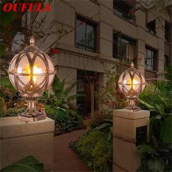 OUFULA Outdoor Post light Patio Modern LED Round Waterproof Pillar Lighting For Porch Balcony Courtyard Villa - DISCOUNT ITEM  32 OFF All Category