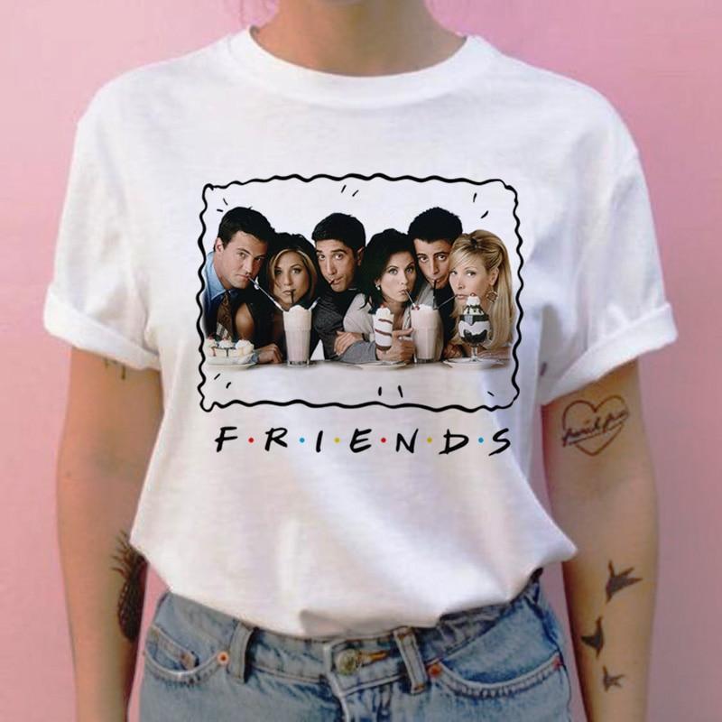 Friend Tv Show Women T Shirt Harajuku Cartoon Grunge Streetwear Tshirt Summer Femme Clothes T-shirt Printing Tops Shirts