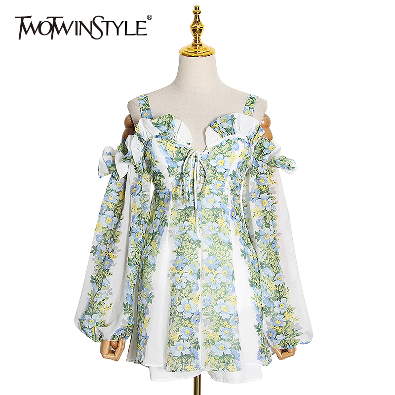 TWOTWINSTYLE Elegant Print Dress Women Square Collar Lantern Sleeve Off The Shoulder High Waist Hit Color Dresses Female Fashion