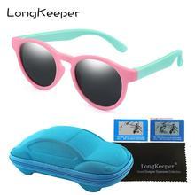 Kids Sunglasses Polarized Round Girls Boys UV400 Children with Car-Case Cat-Eye Silicone