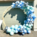 Macaron Balloons Arch Set Green Blue And Silvery Metal Balloon Garland Baby Baptism Shower Birthday Party Balloon Decoration