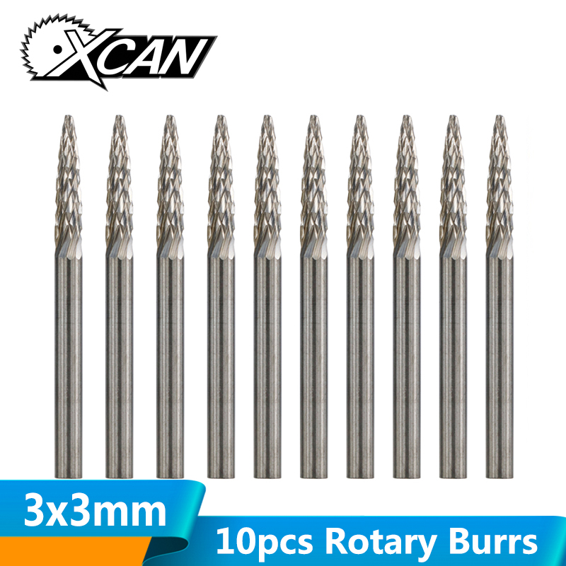 XCAN 10pcs 3mm Shank Tungsten Carbide Rotary Burrs Set Rotary Files For Dremel Engraving Toos Double Cut Burrs Set