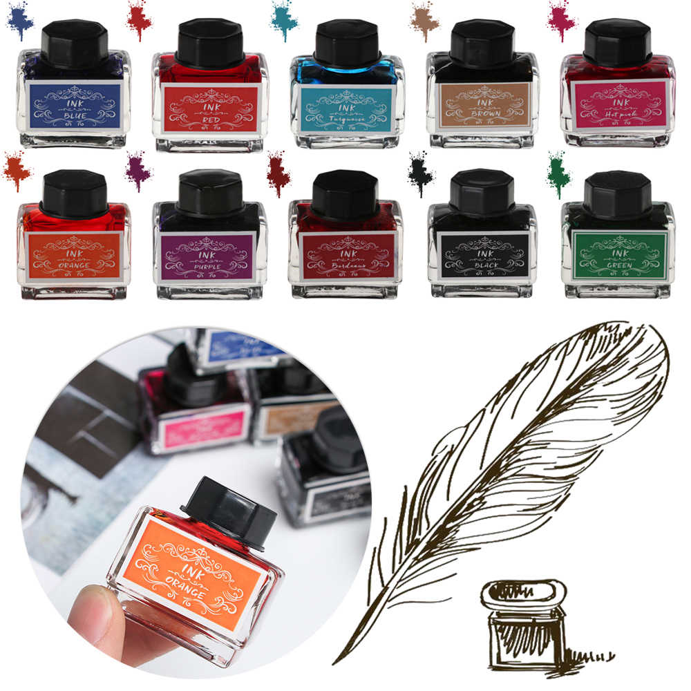 15ml Tinta Pluma Non-CARBON Ink Fountain ปากกาหมึกเครื่องเขียนปากกาขนนกขวดหมึกเครื่องพิมพ์หมึกเคมี a5A3