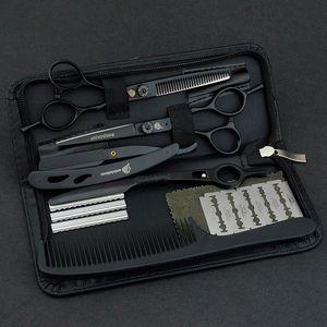 """Image 1 - 6"""" black hair scissors japanese razor hairdressing scissors barber hair clipper for salon hairstylist hair cutting shears kit"""