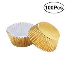 100 pçs alumínio engrossado folha copos cupcake forros mini bolo muffin moldes de cozimento para bolo molde de papel (dourado)