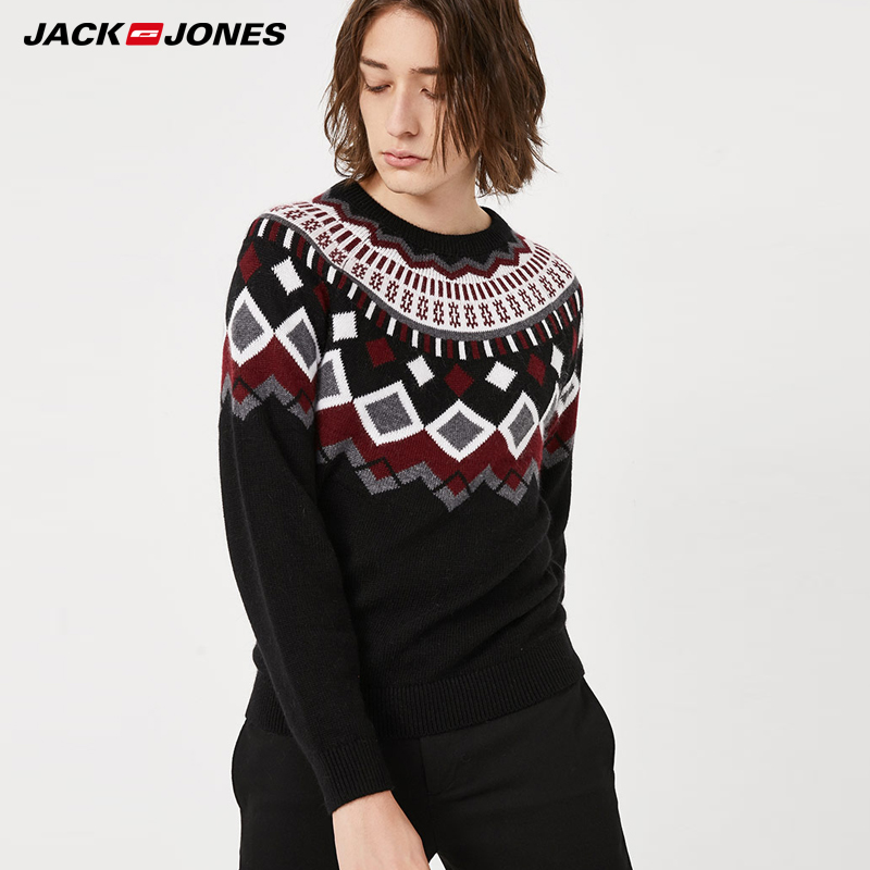 Jack Jones Basic Winter Mens Jacquard Comfortable Sweater | 219424519