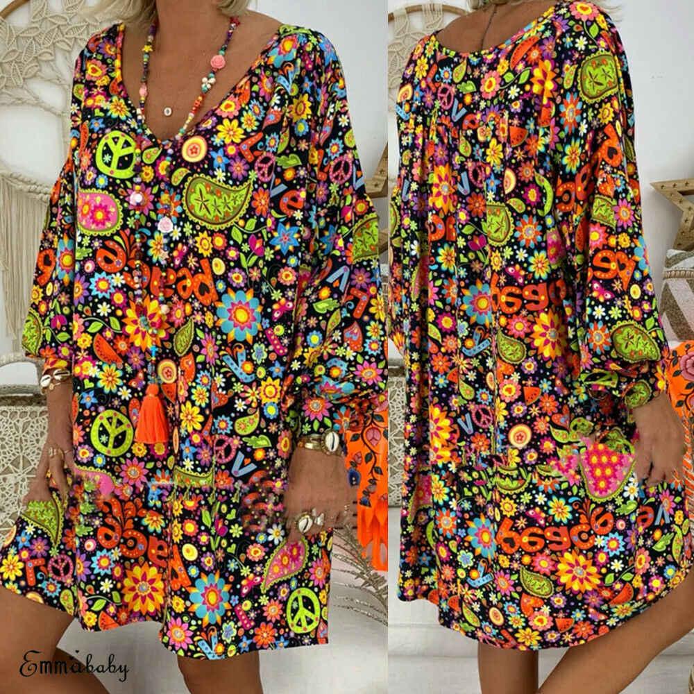 Moda de Grandes Dimensões Mulheres Boho Summer Beach Vestidos Feminino Meninas Moda Floral Impresso Partido Mini Vestido de Verão Outfits Plus Size S-3XL