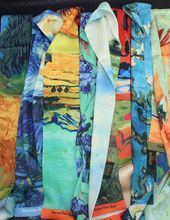 Early Autumn Fund Van Gogh Oil Painting Night Sky In Real Iris Filament A Piece Of Cloth Ribbon Scarf Silk Belt