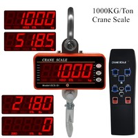 Crane Scale 1000KG 1Ton 2000lb OCS S1 Digital balance LCD High Accurate Industrial Heavy Duty Hanging Hook Hanging Scales 40%off