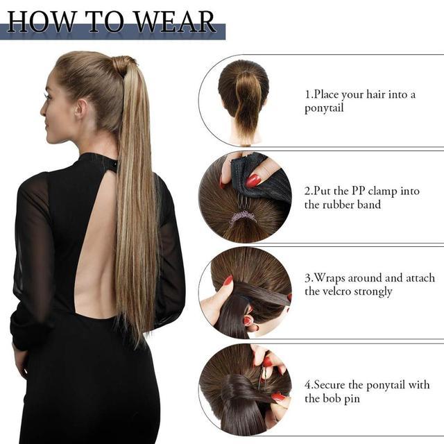 Kong & Li-Extensión de cabello para cola de caballo, larga y recta, Clip en poni sintético, resistente al calor, postizo