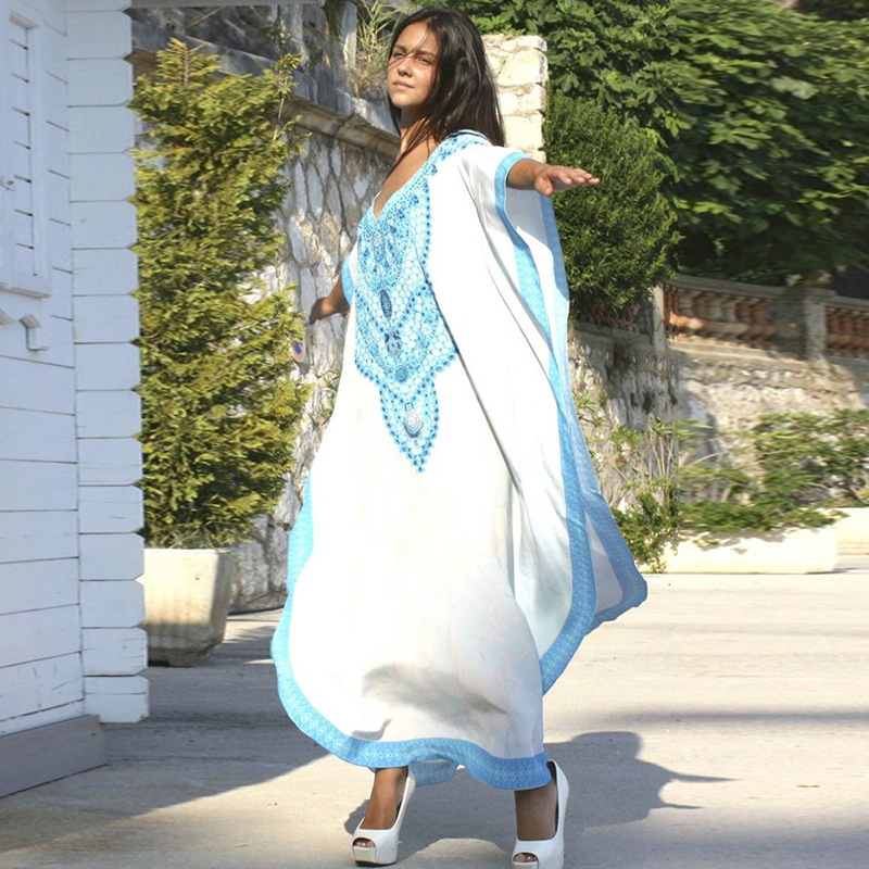 Europe And America New Style Cotton Positioning White Background Blue Print Beach Skirt Robe-like Holiday Dress Bathing Suit Blo