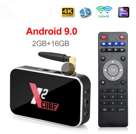 X2 CUBE Android 9.0 Smart TV BOX 2 GB/16 GB TV BOX X2 Mini Amlogic S905X2 1000M 2.4GHz + 5G WiFi Media Player décodeur Stick