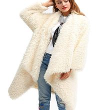 Faux Fur Coat Women Casual Long Sleeve Solid Color Open Front Cardigan Jacket Coat Outwear Top Chaqueta Mujer bontjas Teddy Coat(China)