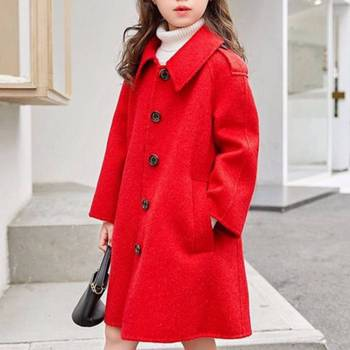 2019 Baby Girls Jackets Autumn Winter Wool Coat For Girls Kids Warm Turn-down Outerwear For 4-12 Year Girl Coat Children Clothes