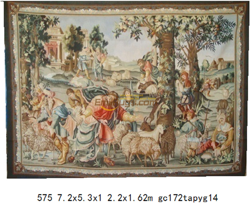 Antique Aubusson French Hand Woven Wool Tapestry Fashionable Household Decorates Circular Floral Decor 575