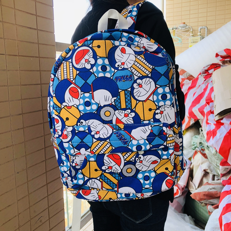 IVYYE Doraemon Fashion Canvas Backpacks Rucksacks Cartoon School Backpack Casual Student Bags Travel Knapsack Gifts Unisex
