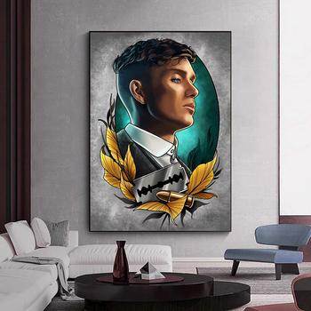 Serial telewizyjny Peaky Blinders na płótnie plakaty artystyczne i wydrukować Tommy Shelby na płótnie obrazy na ścianie Cuadros do obrazy dekoracyjne tanie i dobre opinie CN (pochodzenie) Wydruki na płótnie Pojedyncze PŁÓTNO akwarelowy Obraz z postacią bez ramki Nowoczesne QE611 Malowanie natryskowe