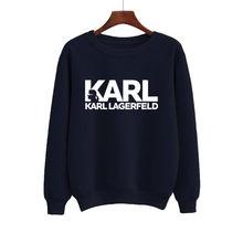 Harajuku oversized sweatshirts de lã feminino hoodies carta karls impresso moletom de manga longa em torno do pescoço pulôver feminino topos