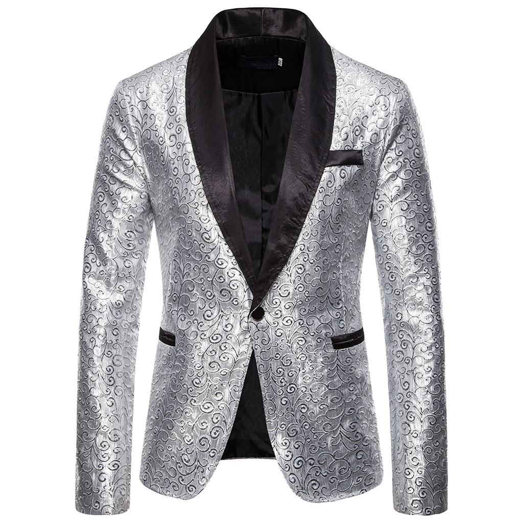 CYSINCOS Shiny Gold Sequin Glitter Blazer Men Jacket DJ Host Single Button Suit Mens Blazer Jacket Prom Stage Wedding Costumes