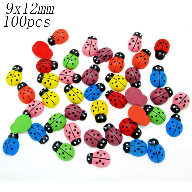 LF 100pcs Mixed Wooden Ladybug Flatback  Cabochon Decoration Handicraft For Scrapbooking Cardmaking Cute DIY Accessories
