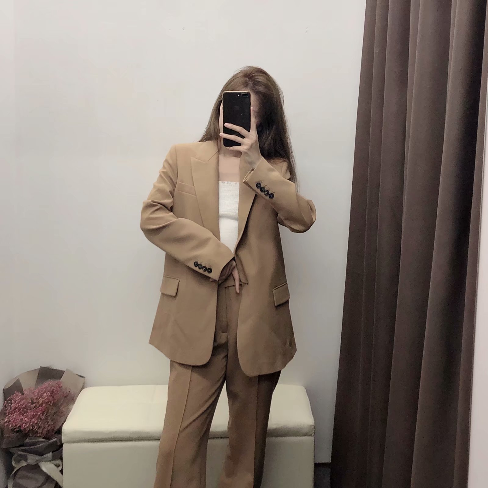 Two piece set top and pants new fashion suit female temperament commuter wild suit jacket with high waist casual pants 2 sets