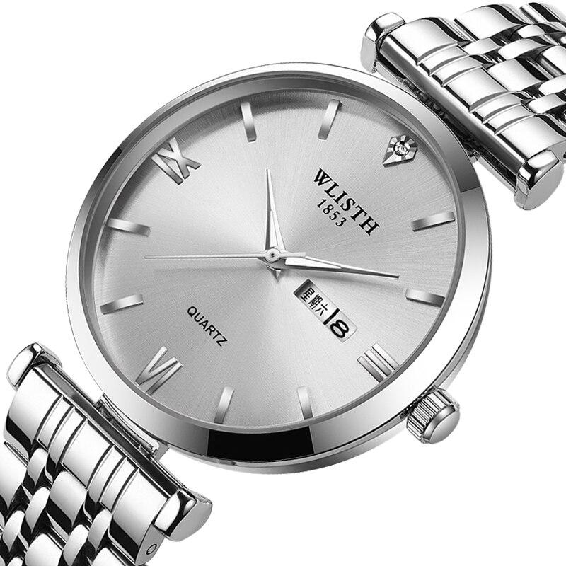 Sports Luminous Men Women Week Calendar Display Waterproof Fashion Steel Leather Strap Belt Quartz Couple Wrist Watch