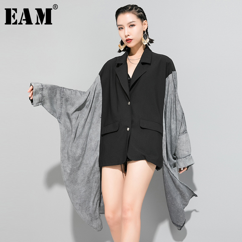 [EAM] Loose Fit Contrast Color Split Big Size Asymmetrical Jacket New Lapel Long Sleeve Women Coat Fashion Spring 2020 1R618