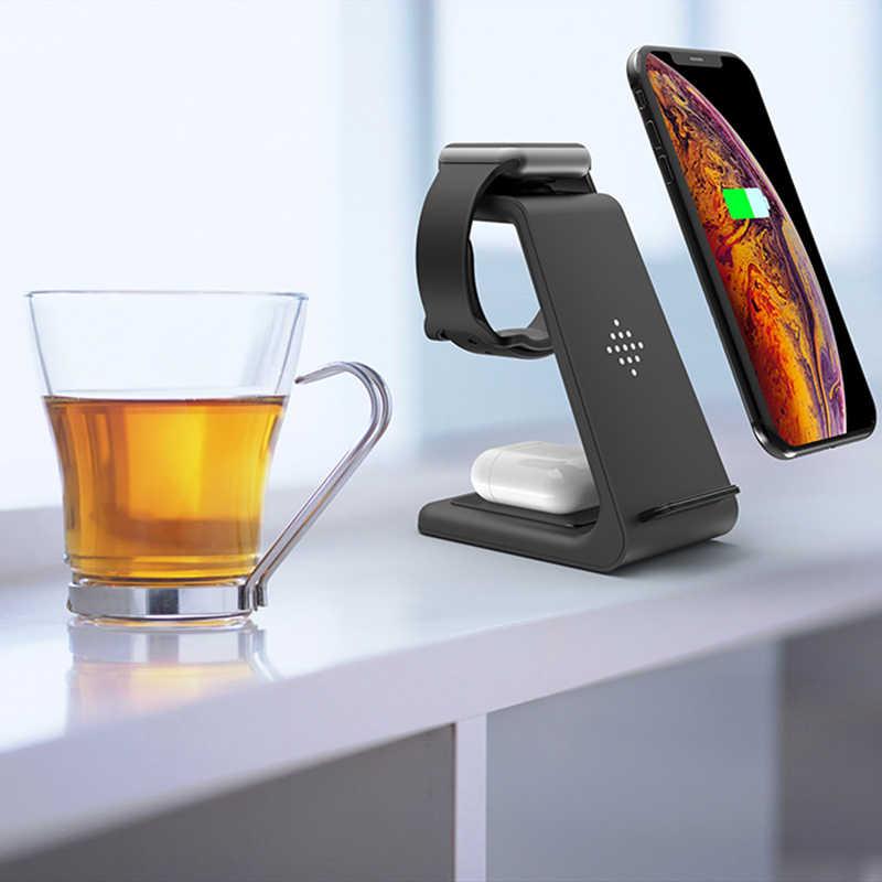 צ 'י 10W תשלום מהיר 3 ב 1 אלחוטי מטען עבור Iphone 11 פרו מטען Dock עבור אפל שעון 5 4 Airpods פרו תשלום אלחוטי Stand