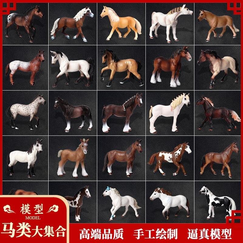 Children's Simulation Wild Animal Horse Model Eight Horses Figure Maxima Black And White Stallion Horse Racing Toy