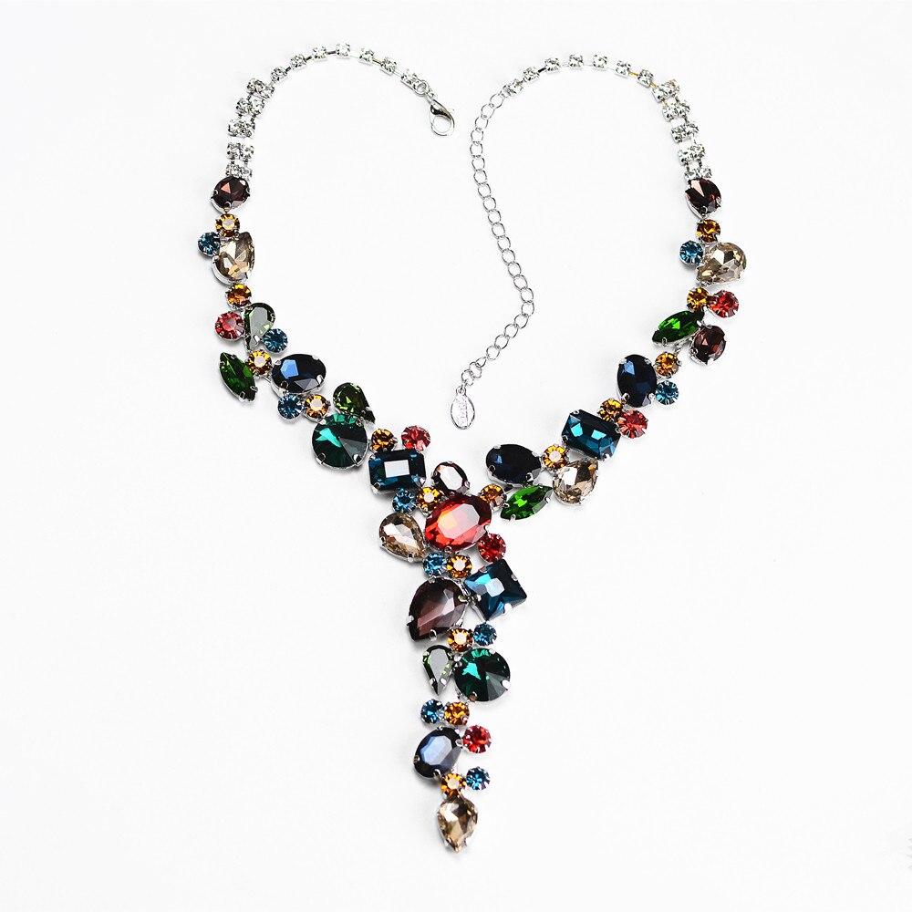 Luxus Bunte Strass Halskette Braut Schmuck Spezielle-Förmigen Kristall, Retro Persönlichkeit, Prom Hochzeit Zubehör CORUIXI