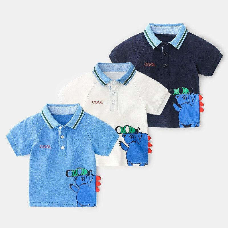 Boys Baby Summer Polo Shirt For Kids Boys Short Sleeve Shirts Cartoon Breathable Polo Shirts For Baby Boy