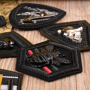 3D Metal Black Leather Embroidered Patches for Clothing Military Army Appliques Bee Badge Stripe Sticker Sew on Clothes DIY