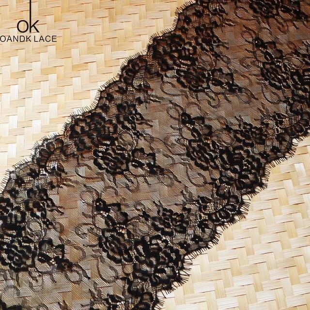 3 meter/ lot Eyelash Lace Fabric  DIY Decorative High Quality Soft Off Nylon Eyelash Lace Trim Wedding Dress Fabric