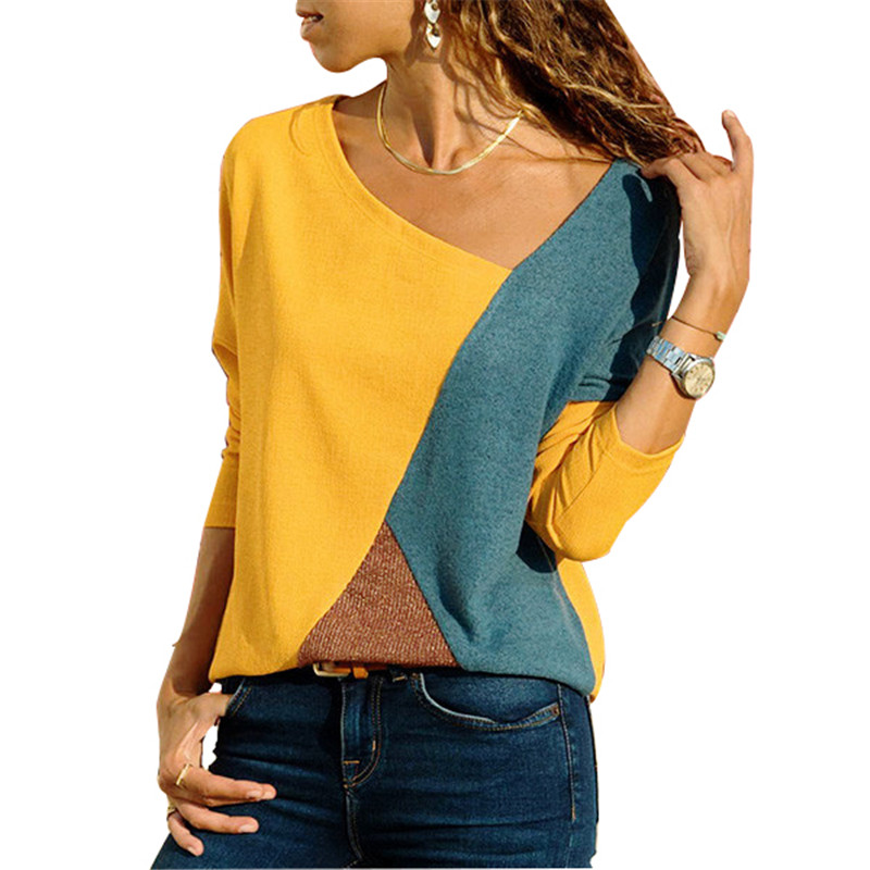 Women  Tshirt Color Block Long Sleeve Basic Shirt Tops Ladies Autumn Winter Plus Size 5XL Casual Tees Female