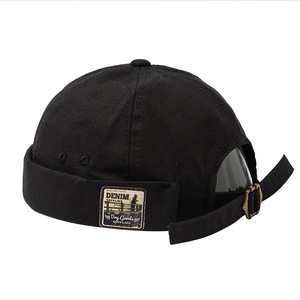 Japanese Men Women Skullcap Sailor Cap Embroidery Warm Rolled Cuff Bucket Cap Brimless Hat Solid Color Adjustable Cotton Hats(China)