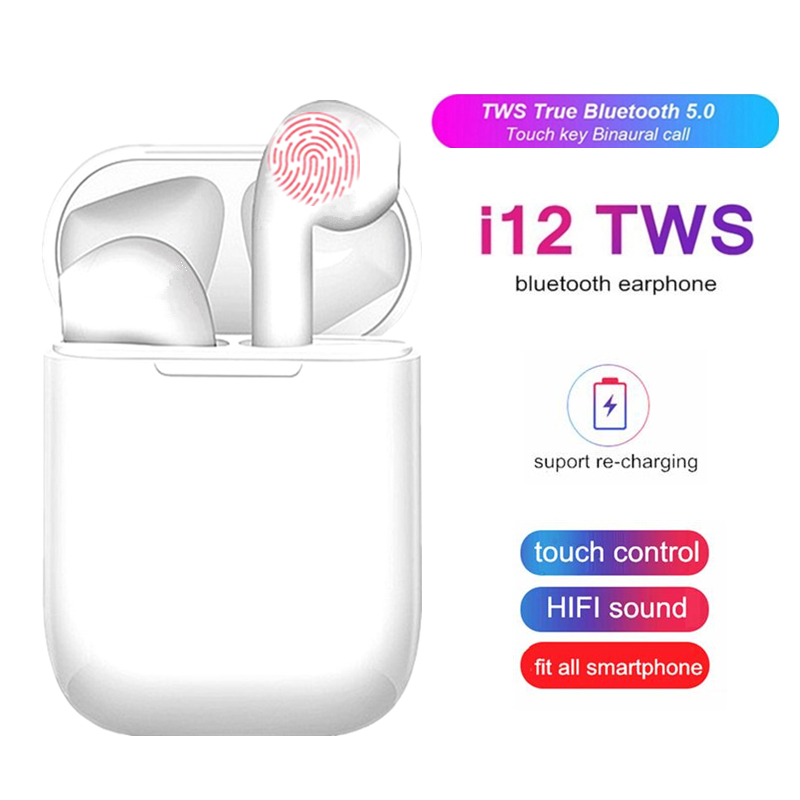 I12 TWS Wireless Headset Touch Key Bluetooth 5.0 Sport Earphone Stereo Pop Up For IPhone Xiaomi Huawei Samsung Smart Phone