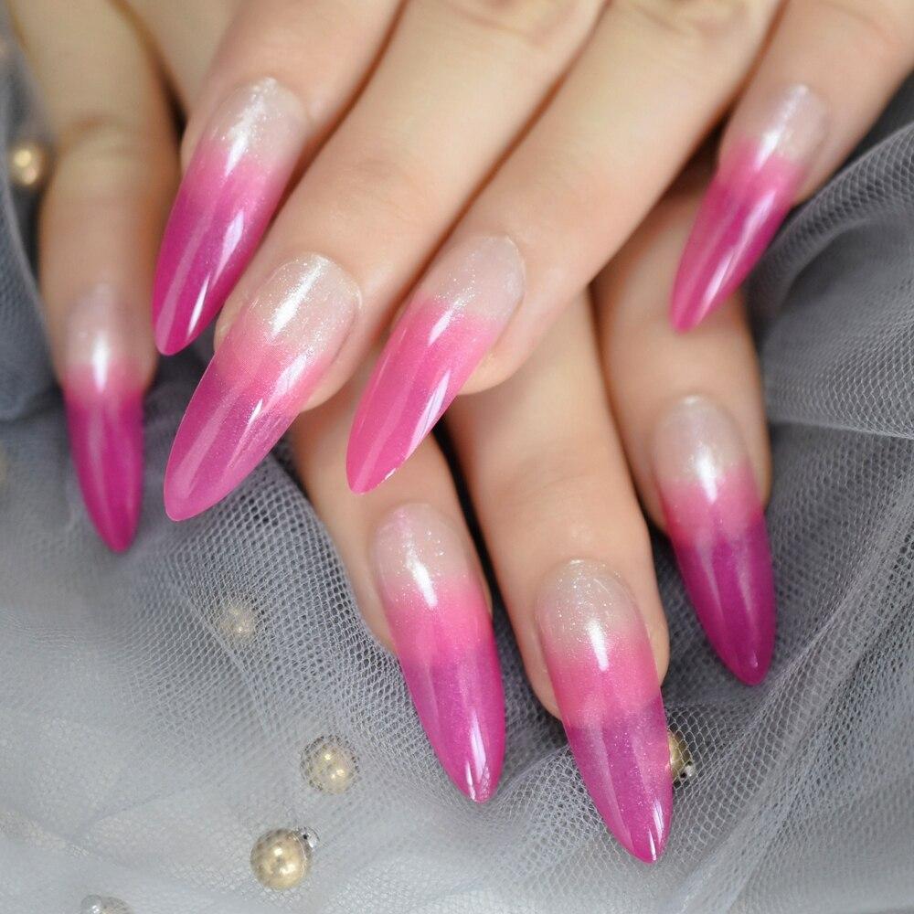 Роскошные поддельные ногти дизайнерские удлиненные Омбре французские украшения предварительно разработанные ногти натуральные шпильки AB Украшение камнями Типсы - Цвет: L5265