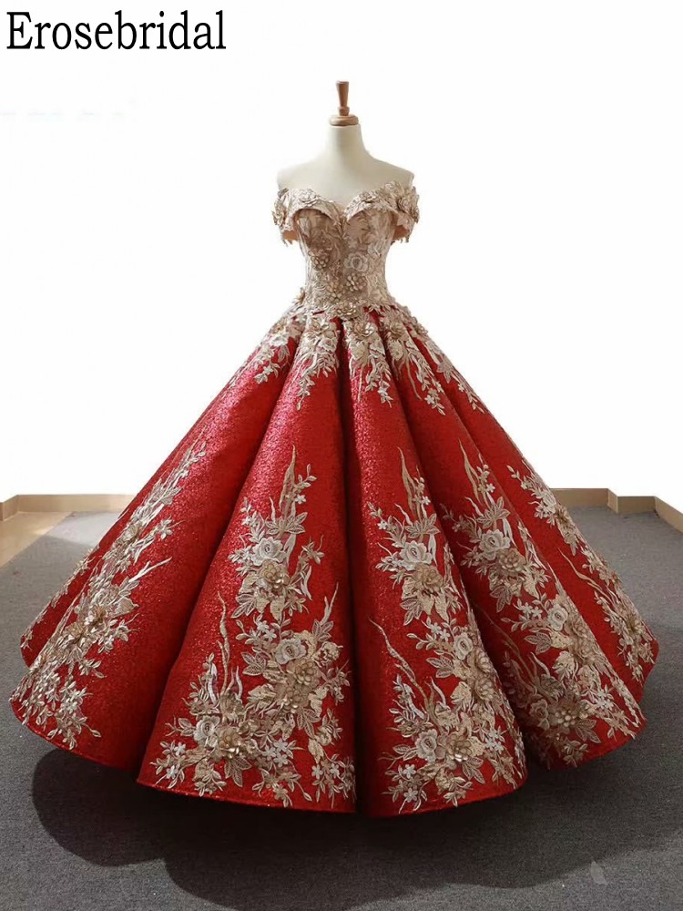 Erosebridal Luxury Evening Dress Long Sleeve Ball Gown Style Red Long Formal Dress Evening Gown Gold Flower Lace Up Back