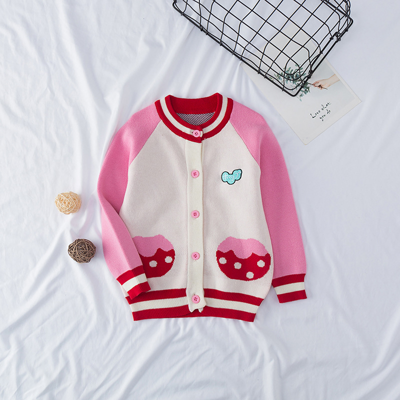 Autumn New Baby Girl Sweater Cardigan Embroidery Jacquard Pattern Clothing Girls Knitted Cardigans Children Christmas