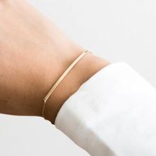 Laramoi Индивидуальный Женский браслет длинная полоса металлический Шарм женский браслет из нержавеющей стали золото/серебро Цвет Ювелирные изделия Подарки