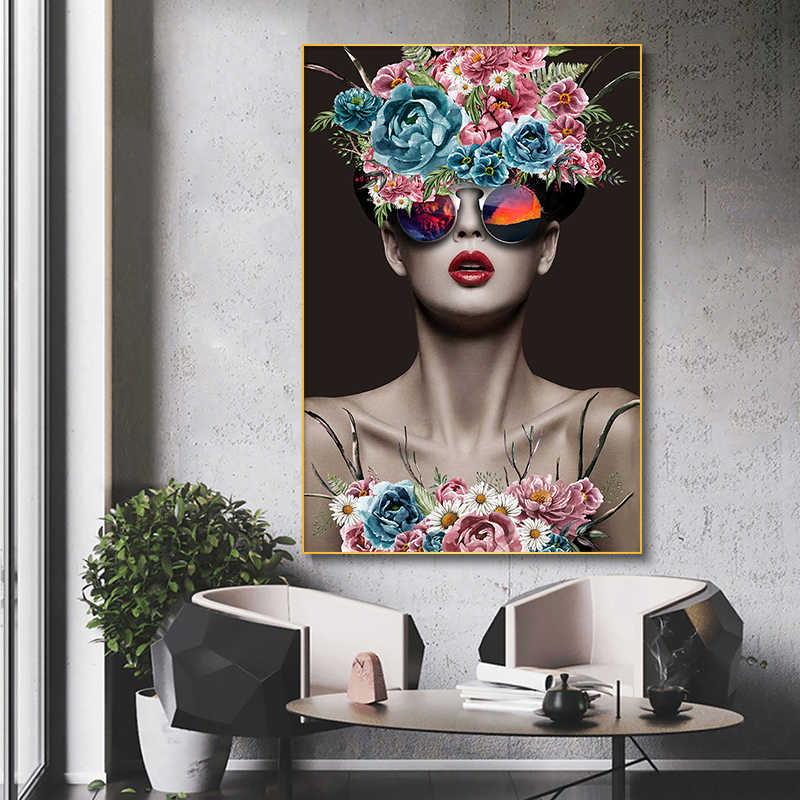 SELFLESSLY Modern Fashion Art Flowers Girl Canvas Painting Wall Art For Living Room Posters Prints Decorative Pictures Unframed