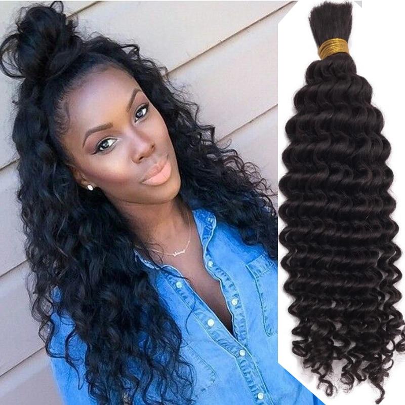 Cheveux humains ondulés en vrac pour tresser 1 3 pièces paquets bouclés malaisiens Remy Extensions de cheveux humains en vrac couleur noire 1 #/2 #/4 #