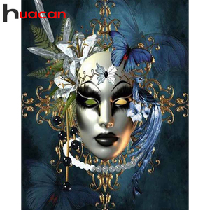 Huacan DIY Diamond Painting 5d Women Mask Full Square Diamond Art Embroidery Portrait Mosaic Horror Craft Kit Home Decor