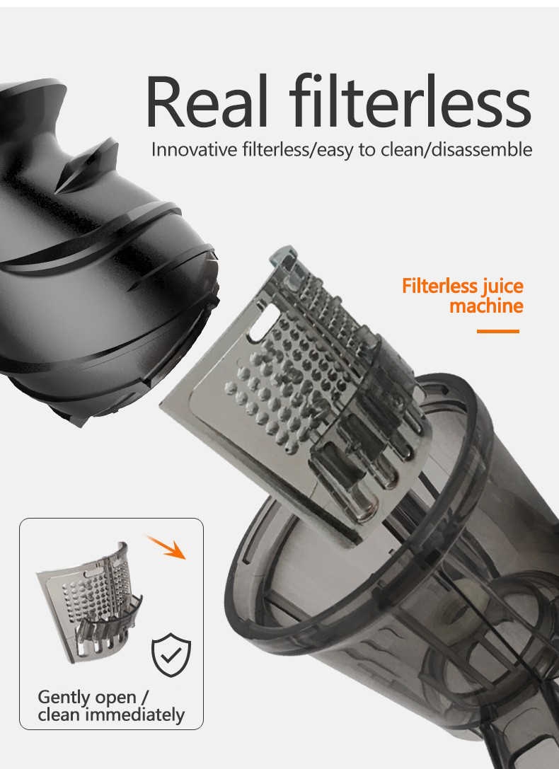 Extrator lento do juicer da imprensa fria nenhum filtro para a limpeza fácil pelo motor silencioso da patente de miui innovat mais alta da listra do rendimento do juicer