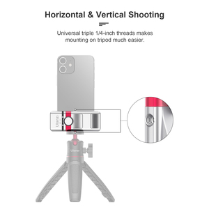 Image 3 - Ulanzi Foldable Aluminum Alloy Phone Clamp Holder Mount Adapter with Cold Shoe Mount for Smartphone Mic LED Light Mounting