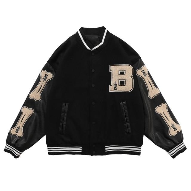 LACIBLE 2020SS Hip Hop Furry Bone Patchwork Color Block Jackets Mens Harajuku Streetwear Bomber Jacket Men Baseball Coats Unisex 3